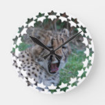 Sleepy Cheetah Cub Round Clock
